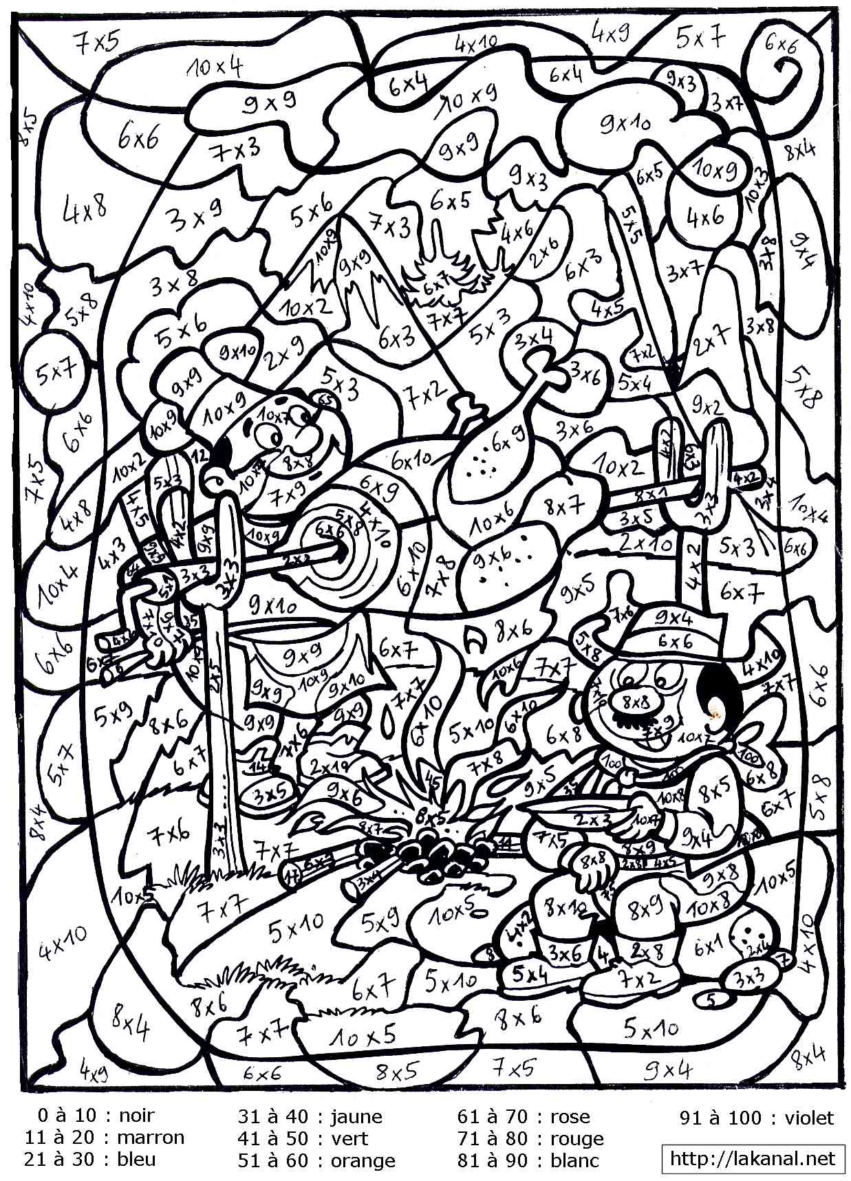 advanced color by number coloring pages - coloriages magiques en math matiques pour